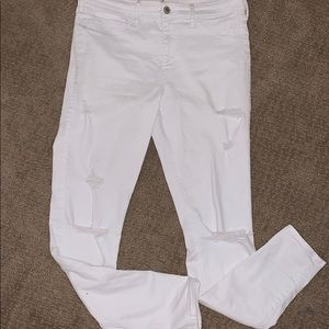 Super skinny stretchy white ripped jeans